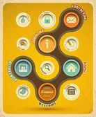 Retro szablon projektowanie stron www — Wektor stockowy