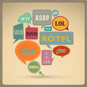 Most common used acronyms and abbreviations on retro style speech bubbles — Stockvector