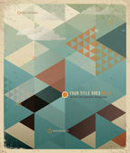 Abstract Retro Geometric Background with cloudS — Stok Vektör
