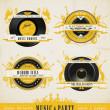Vintage Müzik Etiketler ve rozetleri — Stok Vektör