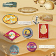 Summer Design Elements on sand background.Useful design elements: signs, tag, labels, papers in summer style. — 图库矢量图片
