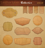 Empty Leather Labels Collection. — Stock Vector