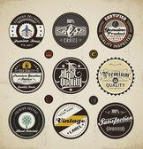 Set di etichette e distintivi retrò — Vettoriale Stock