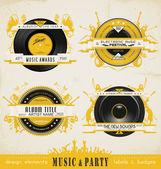 Placas y etiquetas de música vintage. — Vector de stock