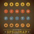 Retro GPS and MAP Icon Set. — Stock Vector