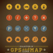 Stock Vector: Retro GPS and MAP Icon Set.