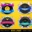 Colorful Retro Music Labels and Badges. — Stock Vector
