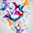 Paper Flight. Origami Birds. - Stok Vektör