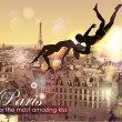 Paris-place for the most amazing Kiss. - Stock vektor