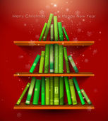 Collection of Christmas Stories. Christmas tree formed from books on the bookshelf. — Stock Vector
