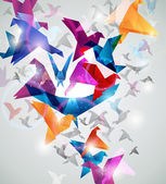 Vol de papier. origami oiseaux. — Vecteur
