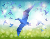 Paper Flight, Origami Blue Birds fly over beautiful landscape. — Stock Vector