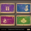 Vintage collection of chipboard Christmas cards. - Stock Vector