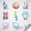 Hand-drawn school icons on lined sketchbook paper. — Stock Vector