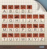 Vintage Spelling Alphabet. — Stock Vector