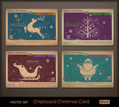 Vintage collection of chipboard Christmas cards. — Stock Vector