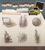 Iconos de la escuela a mano sobre papel de cuaderno de bocetos forrado. — Vector de stock
