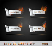 Burning paper Origami banner Set. — Stock Vector