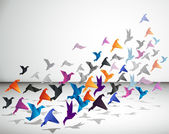 Papier vlucht. origami vogels. — Stockvector