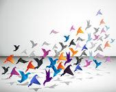 Papper flight. origami fåglar. — Stockvektor
