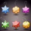 Christmas Glossy Tags - Snowflakes - Stok Vektr