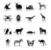 Selected animals symbols/icons — Stok Vektör
