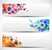 Set Of Floral Headers — Stock Vector