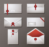 Vector set of wax sealed envelopes — Stock Vector