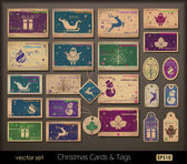 Cartes de noël et de la collection d'étiquettes — Vecteur