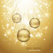 黄金圣诞背景 — 图库矢量图片