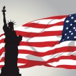 Miss Liberty with American Flag — Imagen vectorial