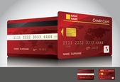 Rode creditcard, voor- en achterkant bekijken — Stockvector
