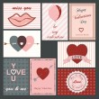 Stock Vector: Set of valentine cards