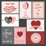 バレンタイン カードのセット — ストックベクタ