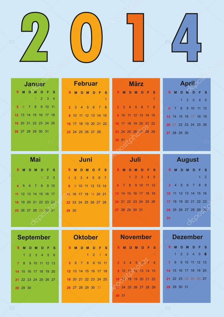 Календарь 2014 немецких праздников.  Векторная иллюстрация.