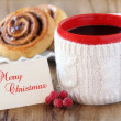 Christmas coffee and pastries — Stock Photo
