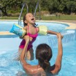 Stock Photo: Mother and daughter in swimming pool