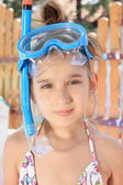 Girl with diving mask — Stock Photo