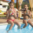 Two girl by swimming pool — Stock Photo #13176834