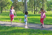 Children with skipping rope — Stock Photo
