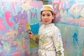 Girl painting — Stock Photo