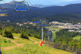 Chairlift in the mountain — Stock Photo