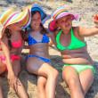 Girls making self portriat on the beach — Stock Photo #51778129
