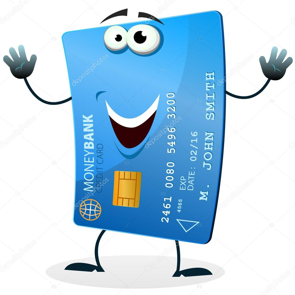 Illustration of a cartoon happy funny credit card character welcoming — Stock Vector #12476555