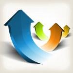 Abstract Rising Arrows — Stock Vector