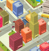 Cartoon City Aerial View — Stock Vector
