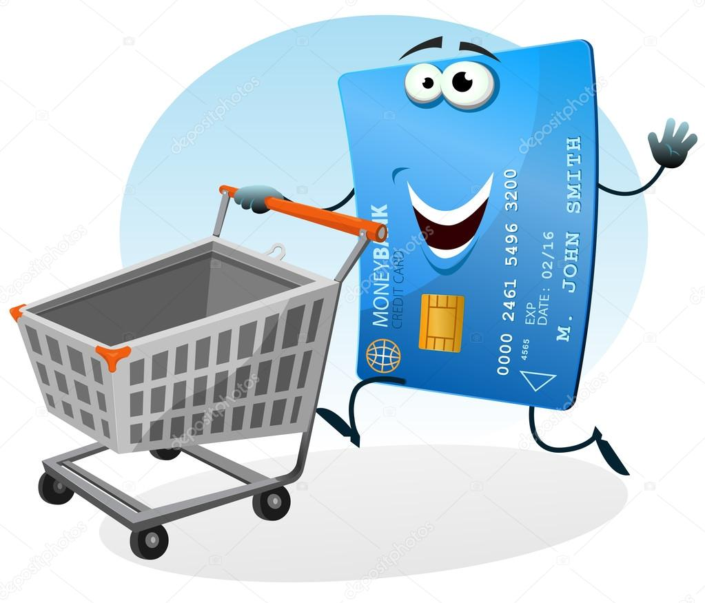 Illustration of a cartoon happy funny credit card character holding and rolling shopping cart at the mall market — Stok Vektör #12937471