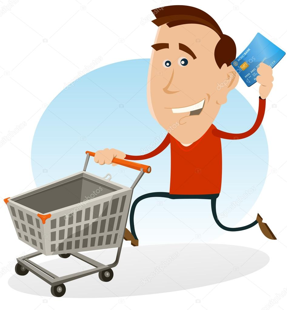 Illustration of a cartoon happy man running and holding his credit card while pushing a rolling shopping cart at the mall market — Stock Vector #13159864