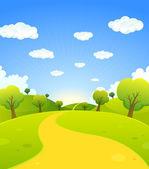Primavera o verano paisaje de dibujos animados — Vector de stock