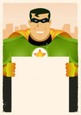 Comic Super Hero Holding Sign — Stock Vector